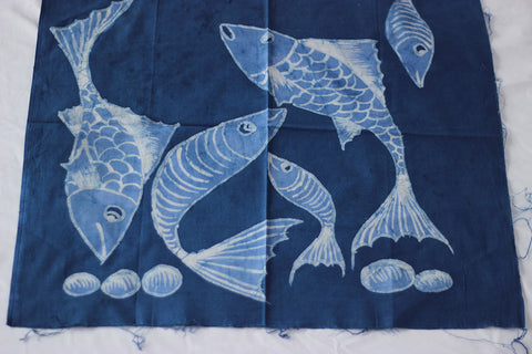 "Hand Painted African Batik Panel - ""21 x 20"" - Fishes"