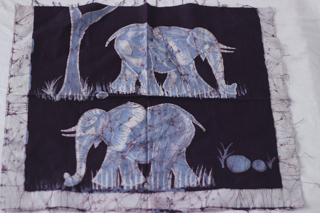 "Hand Painted African Batik Panel - ""22 x 19"" - Elephants"