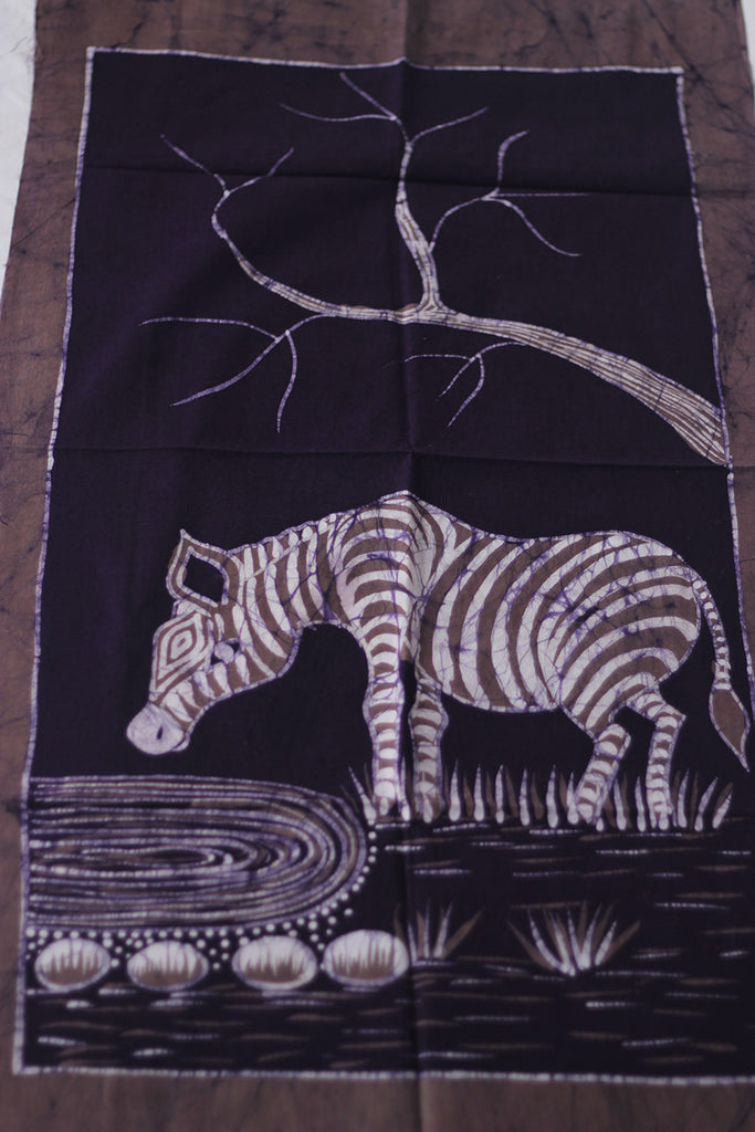 "Hand Painted African Batik Panel - ""21 x 38"" - Zebra"