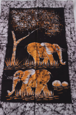 "Hand Painted African Batik Panel - ""21 x 38"" - Elephants"