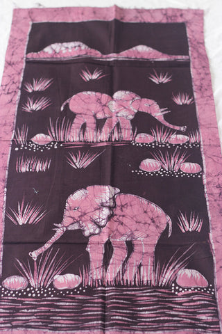 "Hand Painted African Batik Panel - ""20 x 38"" - Elephants"