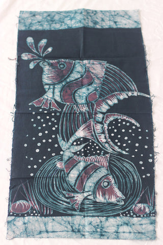 "Hand Painted African Batik Panel - ""13 x 25"" - Fishes"