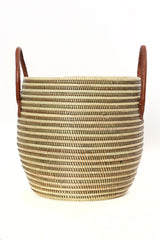 Copy of Mixed Stripe Baskets with Leather Handles -Set/3
