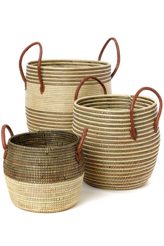 Mixed Stripe Baskets with Leather Handles -Set/3