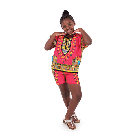 Childrens Dashiki & Shorts - Fuschia