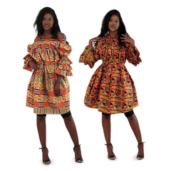 Kente Off-The-Shoulder Dress