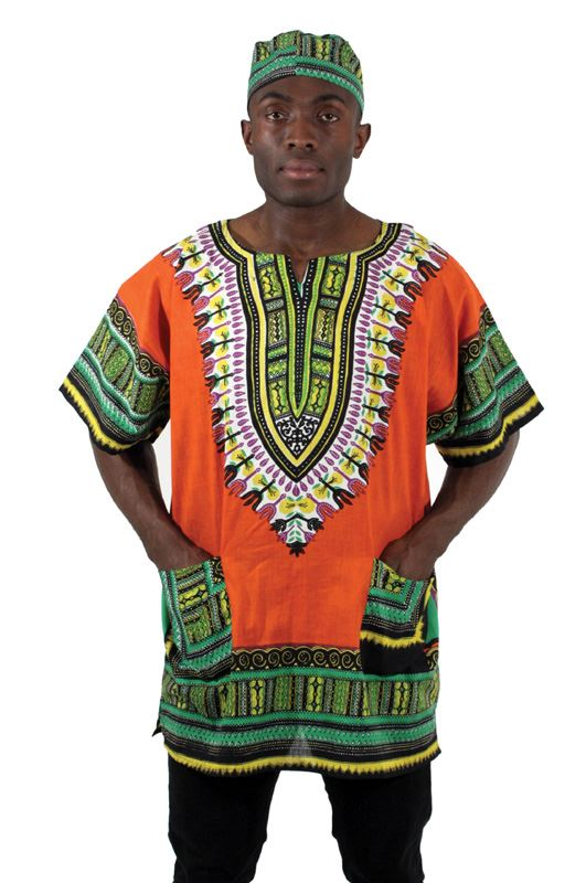 Traditional African Print Dashiki - Orange