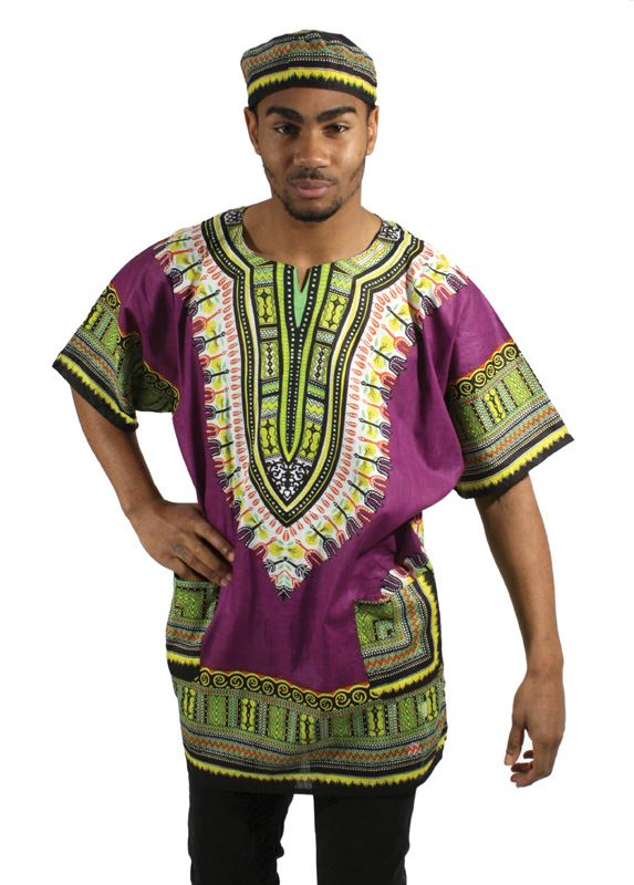 Traditional African Print Dashiki - Purple