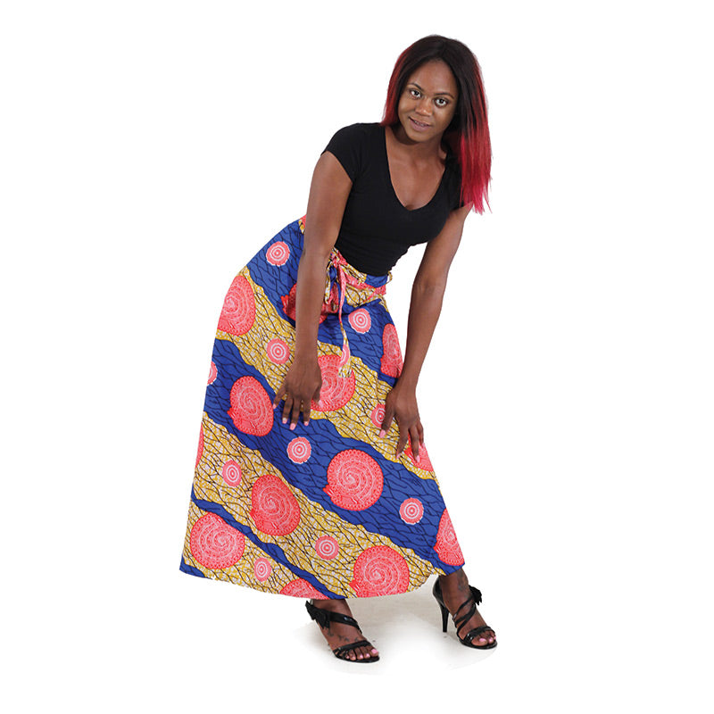 African Print Wrap Skirt - Red/Blue
