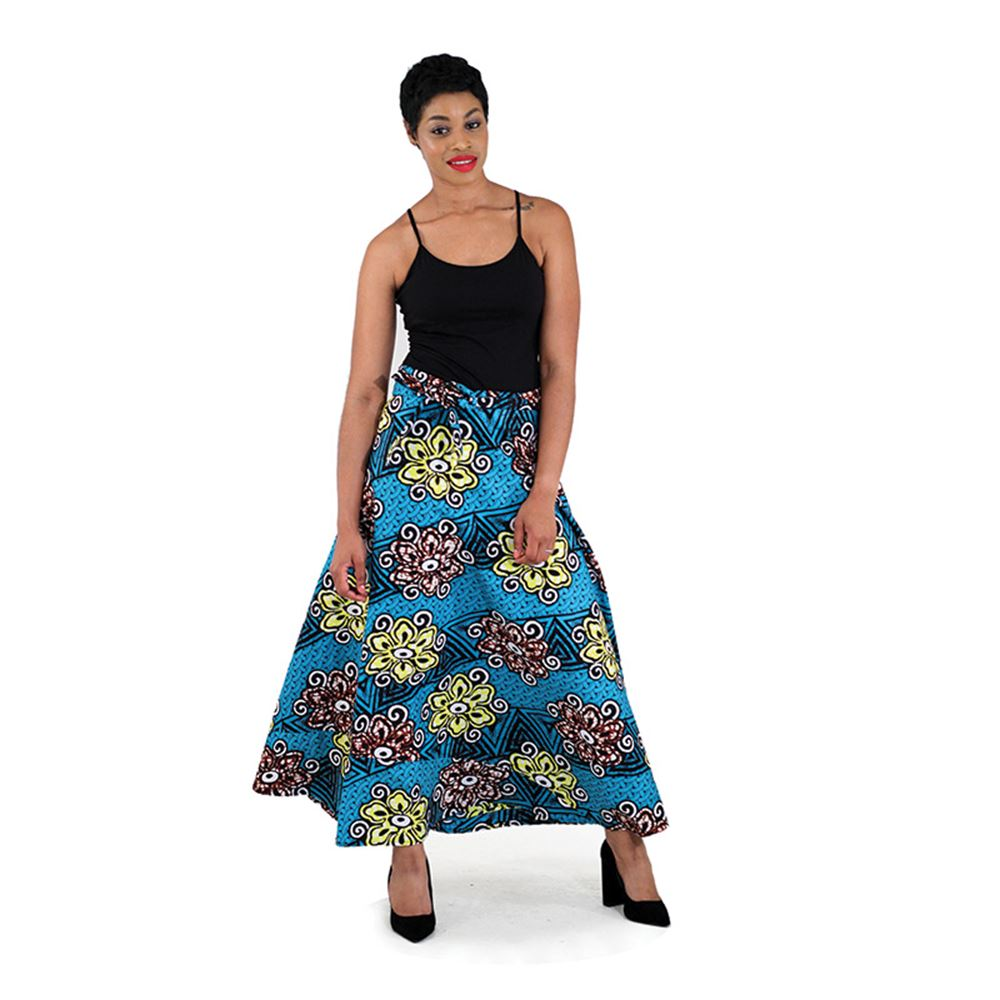 African Print Wrap Skirt - Turquoise/Yellow