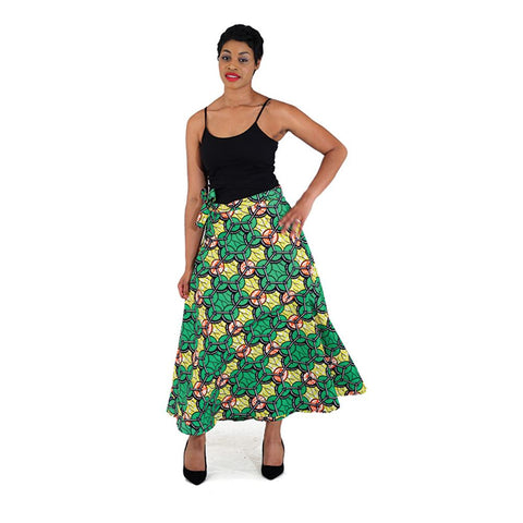 African Print Wrap Skirt - Yellow/Green