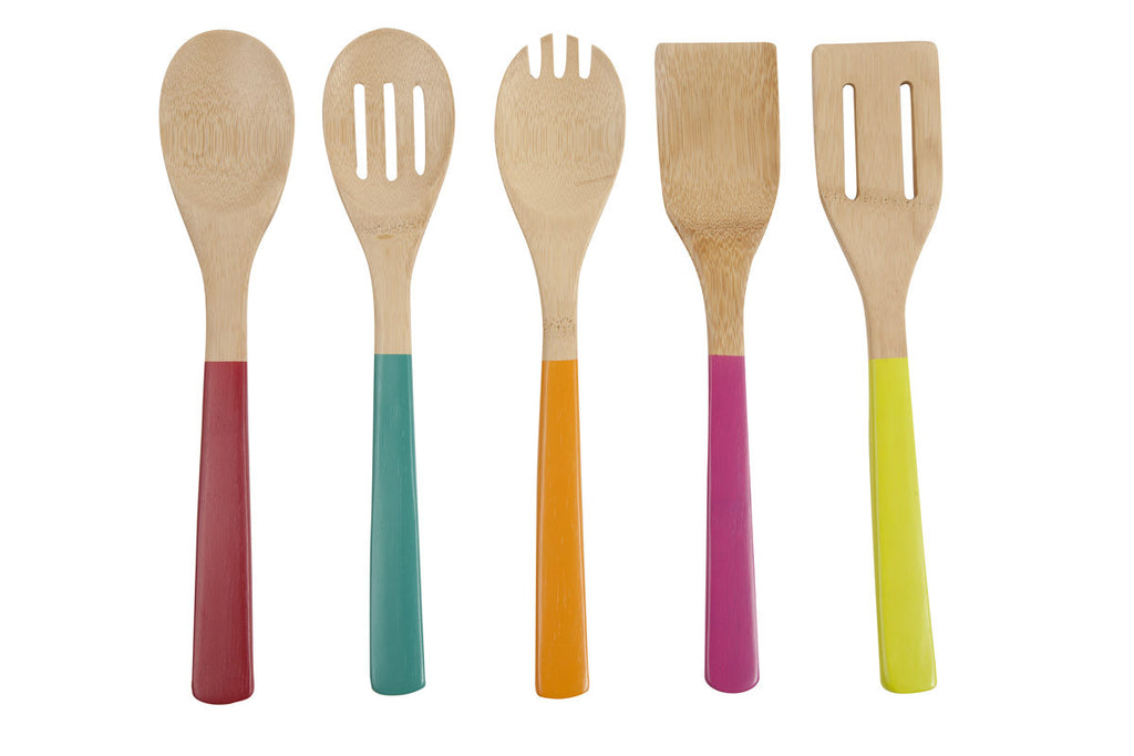 Painted Organic Bamboo Utensil Set with Caddy - 6 pc