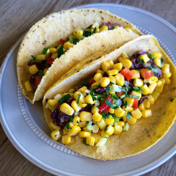 PL Chipotle Black Bean Tacos with Corn Salsa