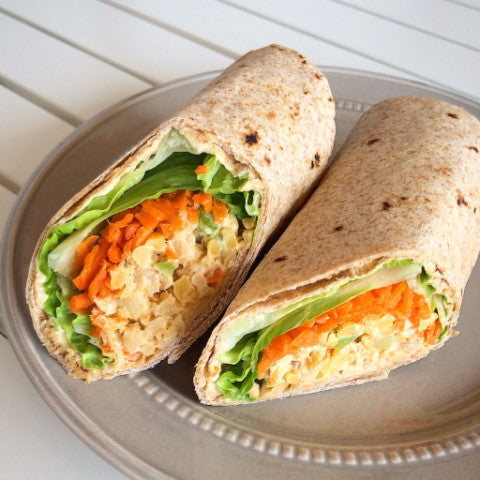 Buffalo Chickpea Salad Wrap w/ Ranch and Veggies