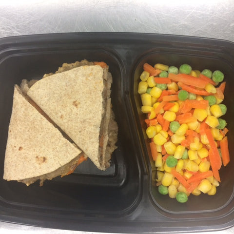 Kids' Lunchbox Meal: Sweet Potato Quesadilla w/Steamed Veggies