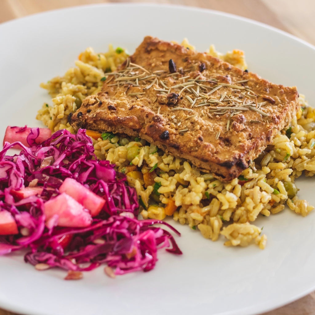 Lemon Herb Tofu w/ Rice Pilaf & Red Cabbage Slaw