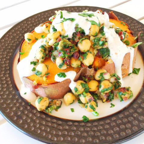Mediterranean Loaded Sweet Potato