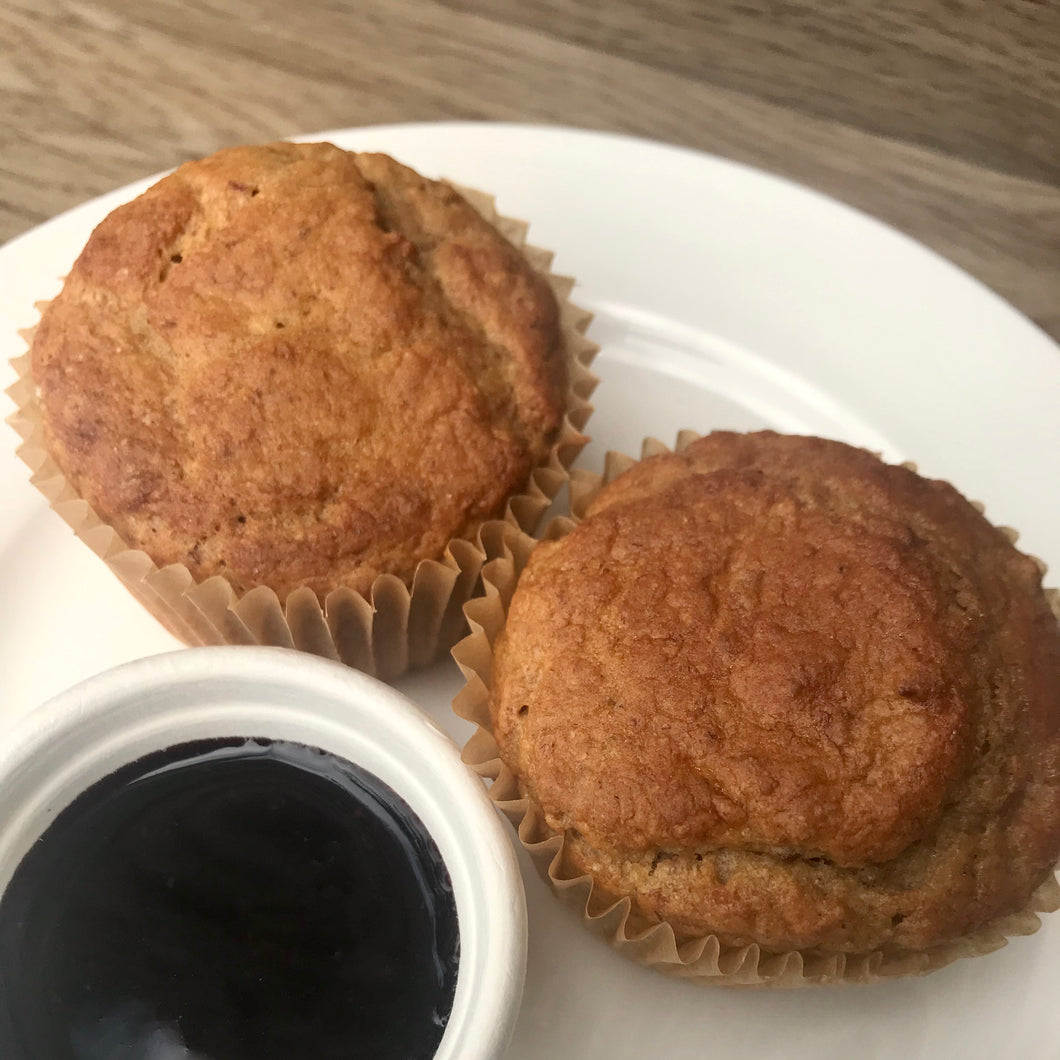 LH  Pancake Muffins w/ Blueberry Compote