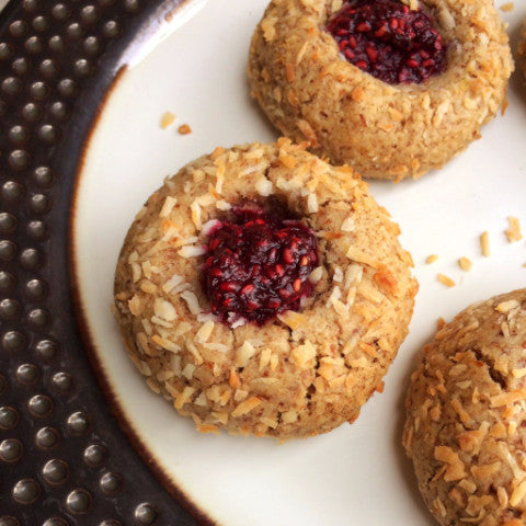 Raspberry Almond Thumbprint Cookies - Dozen