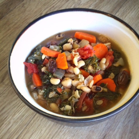 Spicy Black-Eyed Peas & Greens Soup