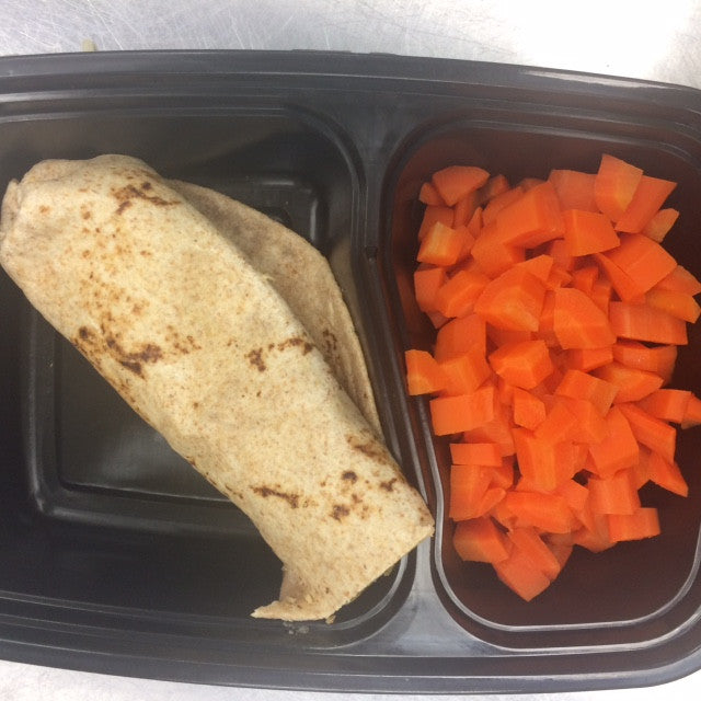 "Kids' Lunchbox Meal: Bean & ""Meat"" Burrito w/Steamed Veggies"