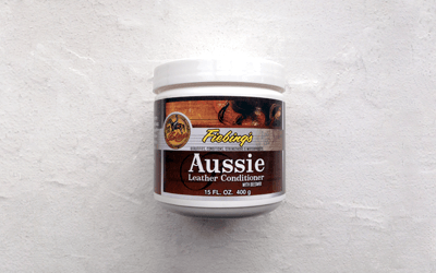 Fiebing's Aussie leather conditioner for restoring, waterproofing and protecting vegetable tanned leather especially in cold or hot climates