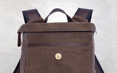 Bashilo 13 waxed cotton backpack with vegetable tanned leather, this is a city sized daypack that can carry a 13 inch laptop and your daily essentials