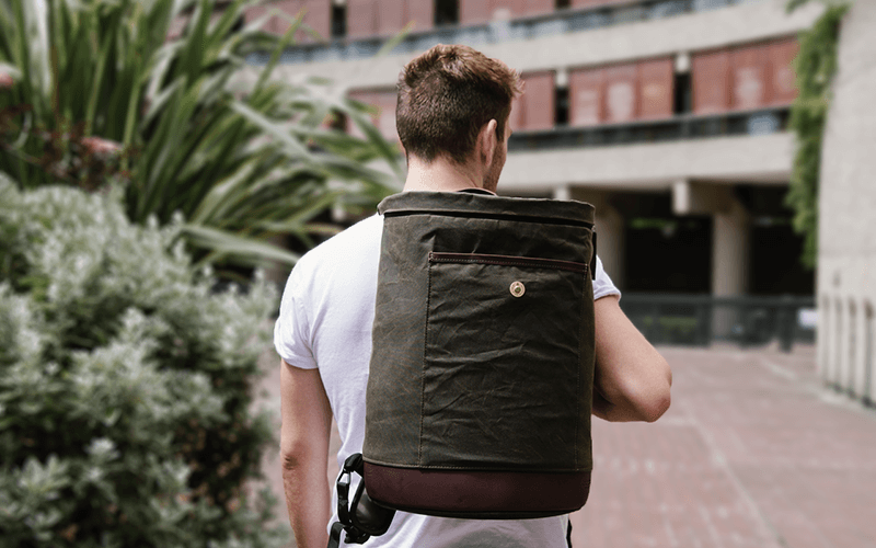 Bashilo 15 waxed cotton backpack with vegetable tanned leather, this is a larger sized daypack that can carry a 15 inch laptop and your daily essentials