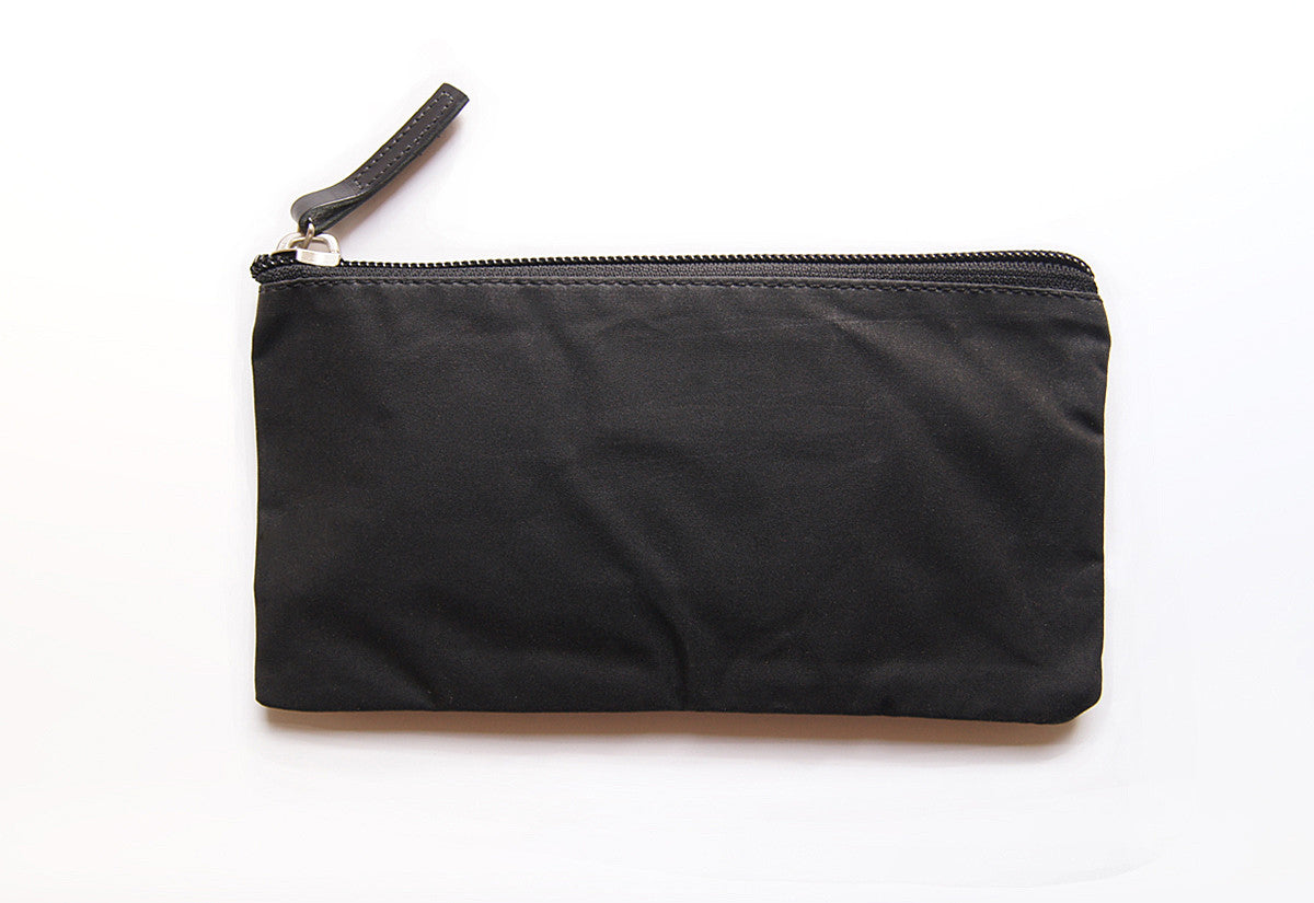 Black Dessie case waxed cotton EDC wallet pouch with Black veg tanned leather