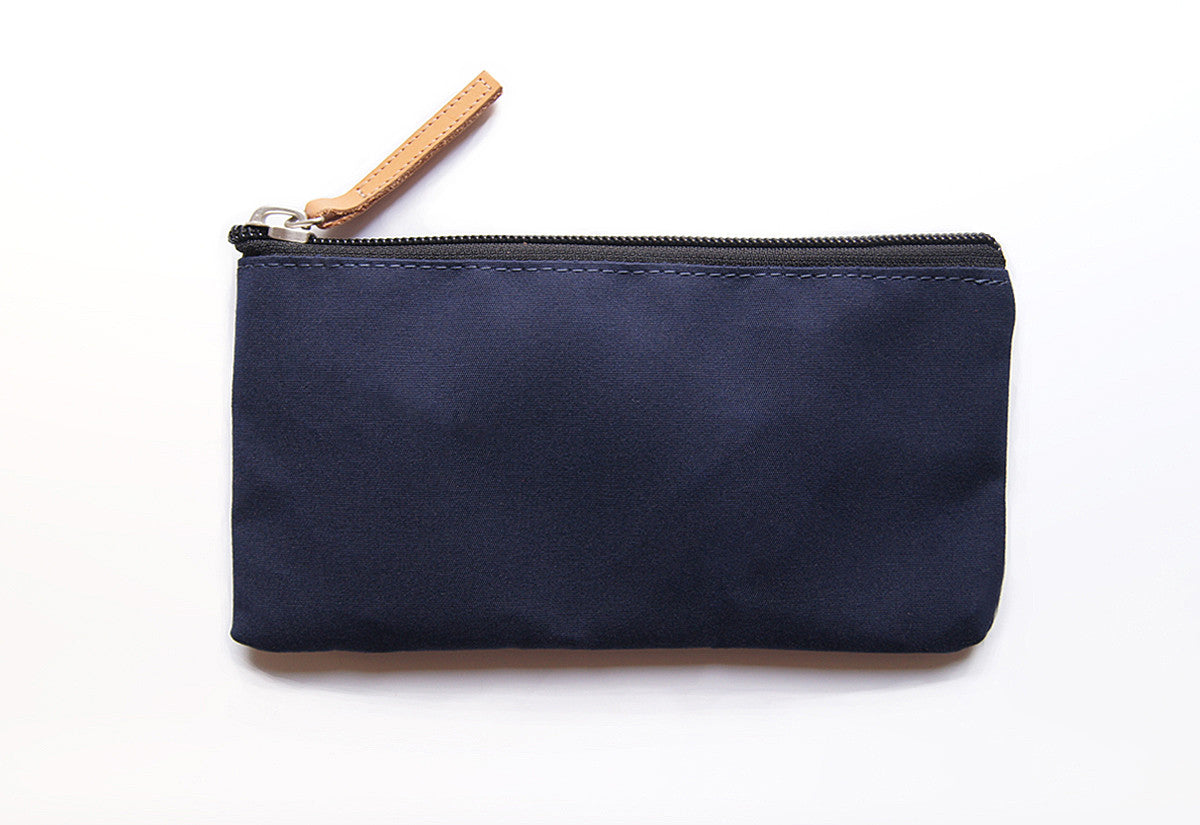 Dark Navy Blue Dessie case waxed cotton EDC wallet pouch with Tan veg tanned leather