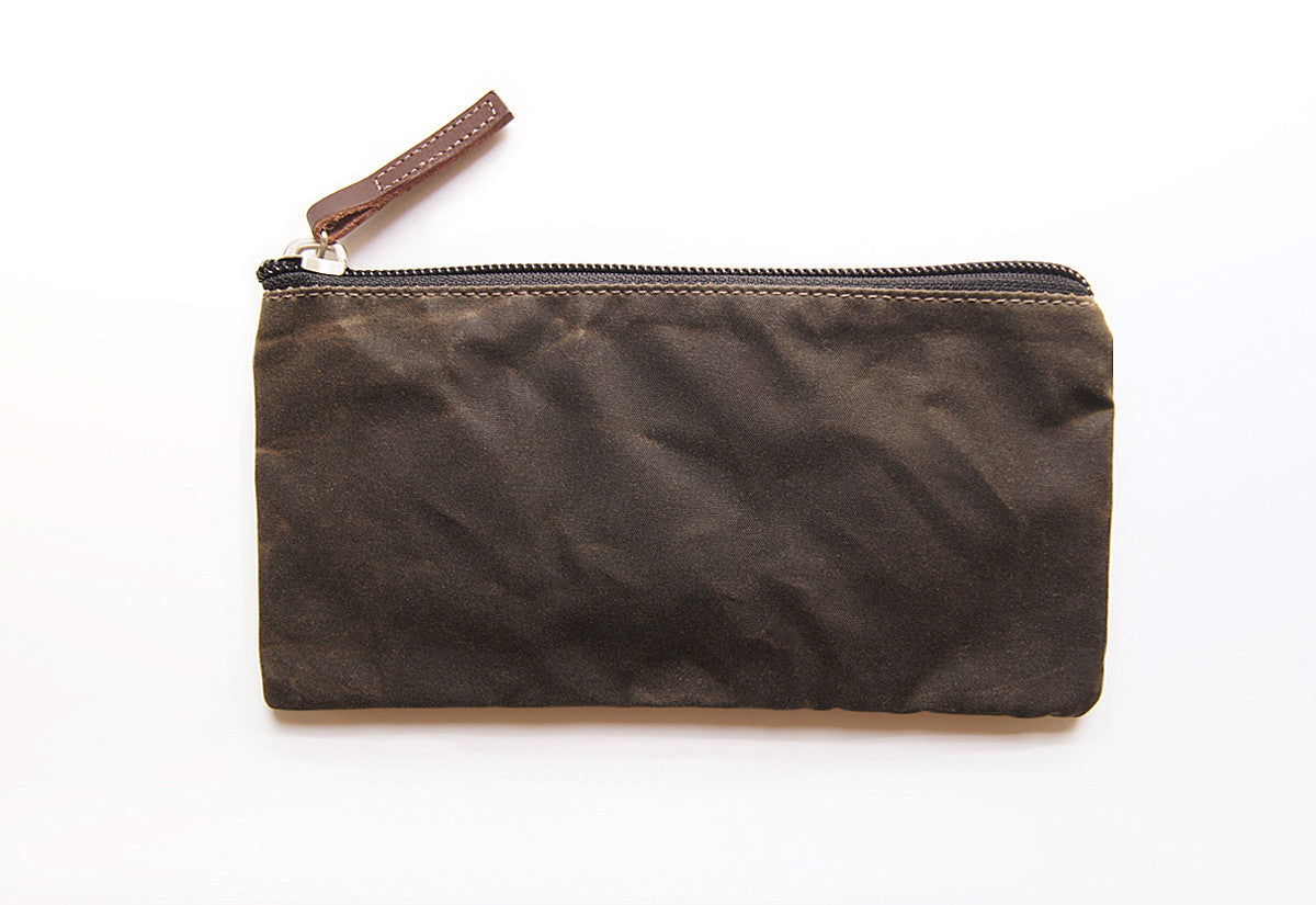Dark Olive Green Dessie case waxed cotton EDC wallet pouch with Dark Brown veg tanned leather