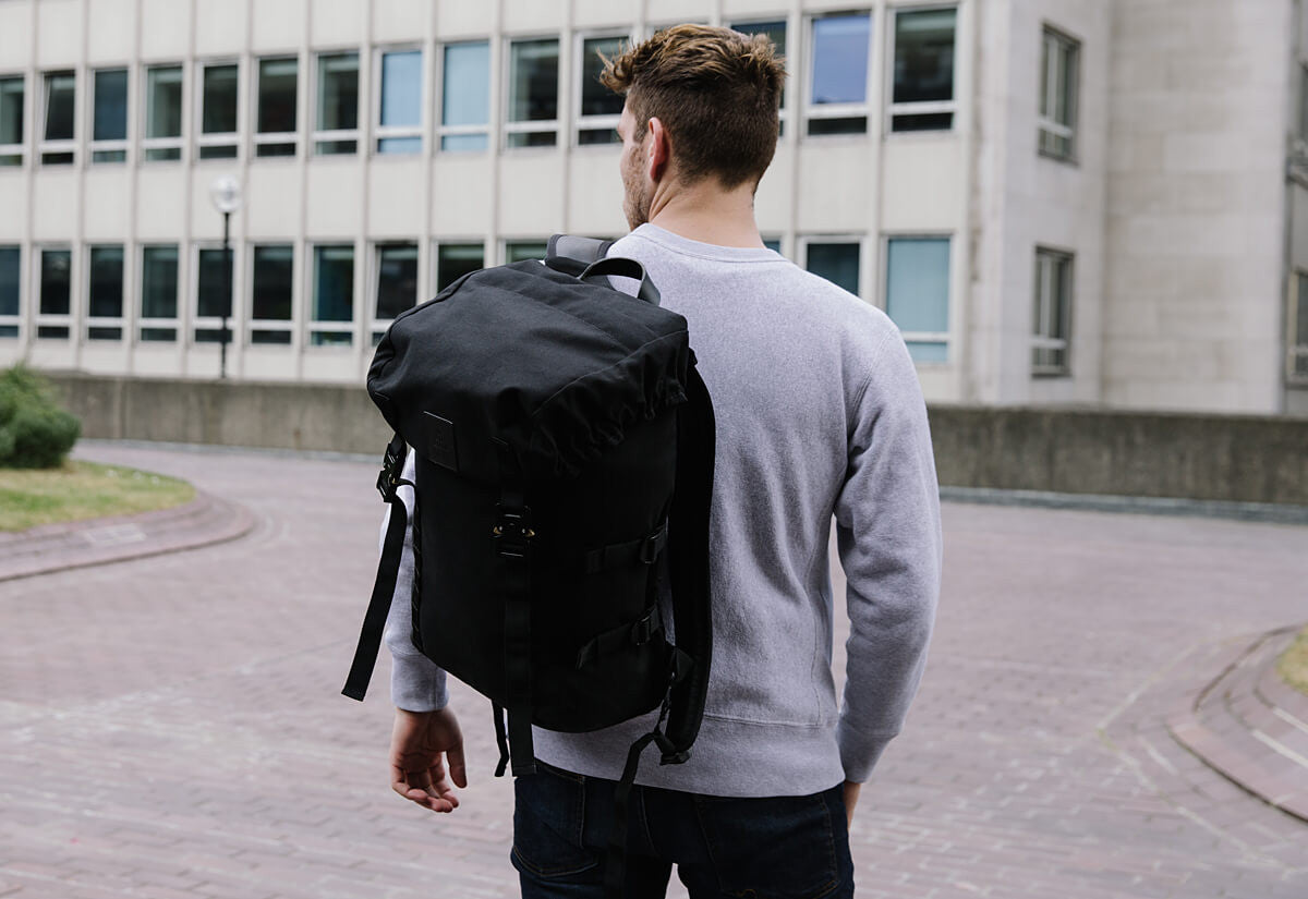 Black Amhara waxed canvas backpack with Black veg tanned leather
