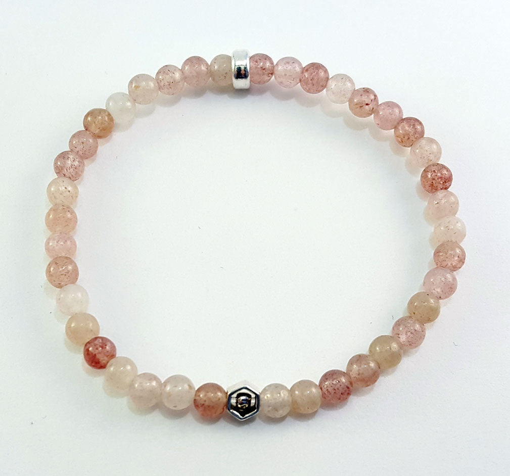 4mm Strawberry Quartz Silver Hexagon Bracelet
