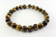 8mm Tiger's Eye Silver Bracelet