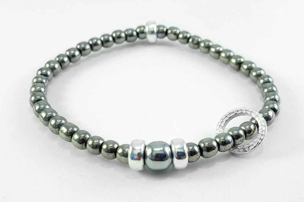 4mm Silver Hematite with Silver Floating Circle Bracelet
