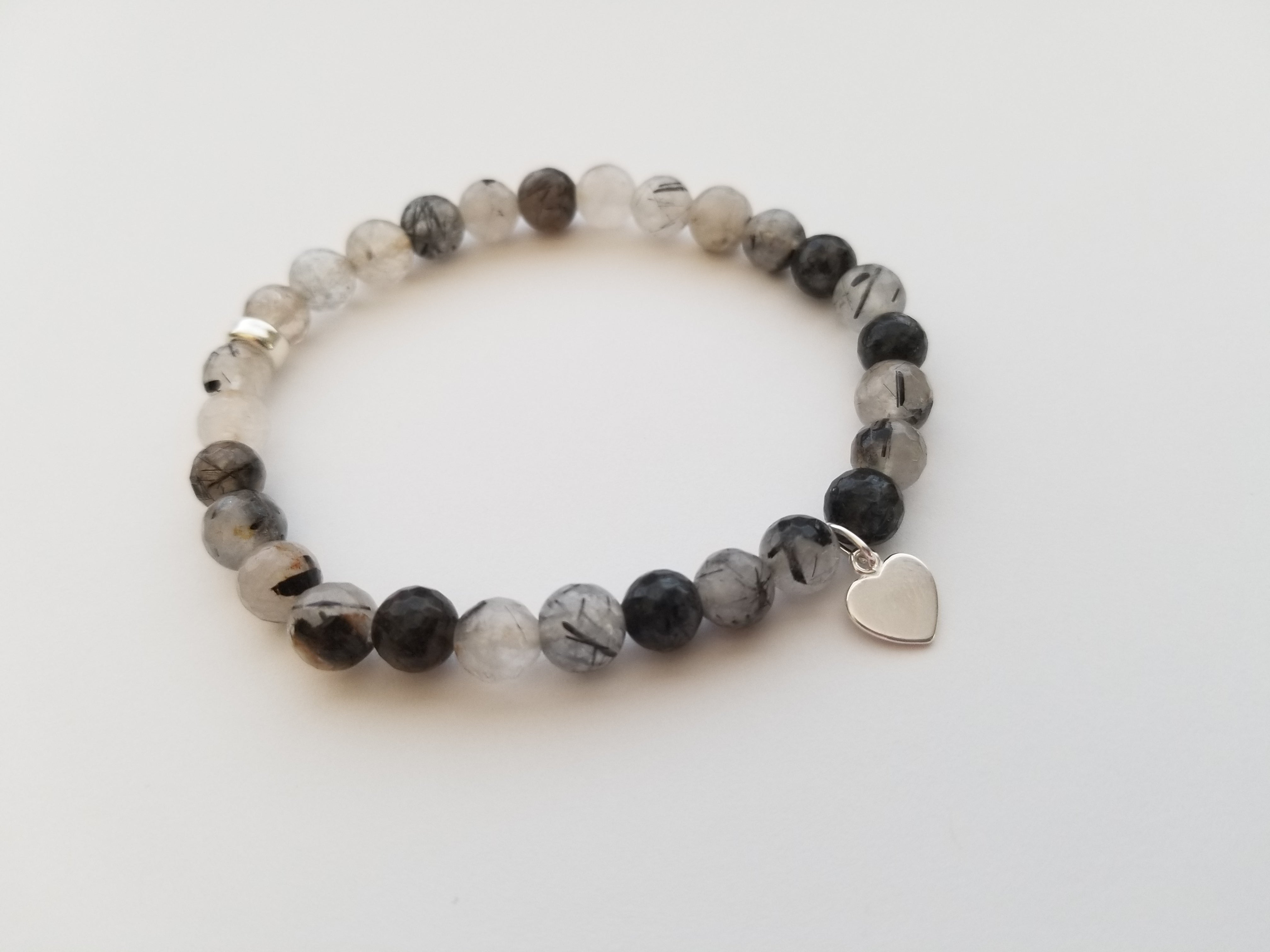 6mm Tourmalated Quartz with Silver Heart Charm Bracelet