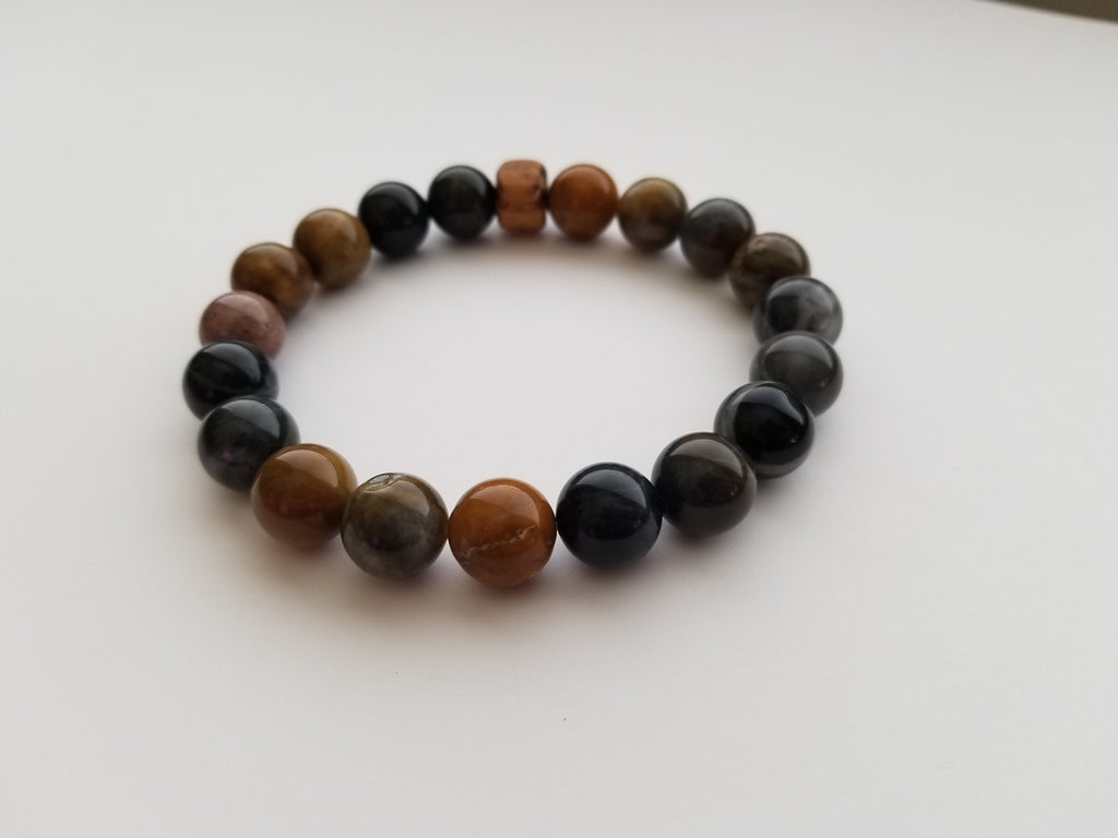 Petrified Wood Agate with Black Locust Wood Bead Bracelet