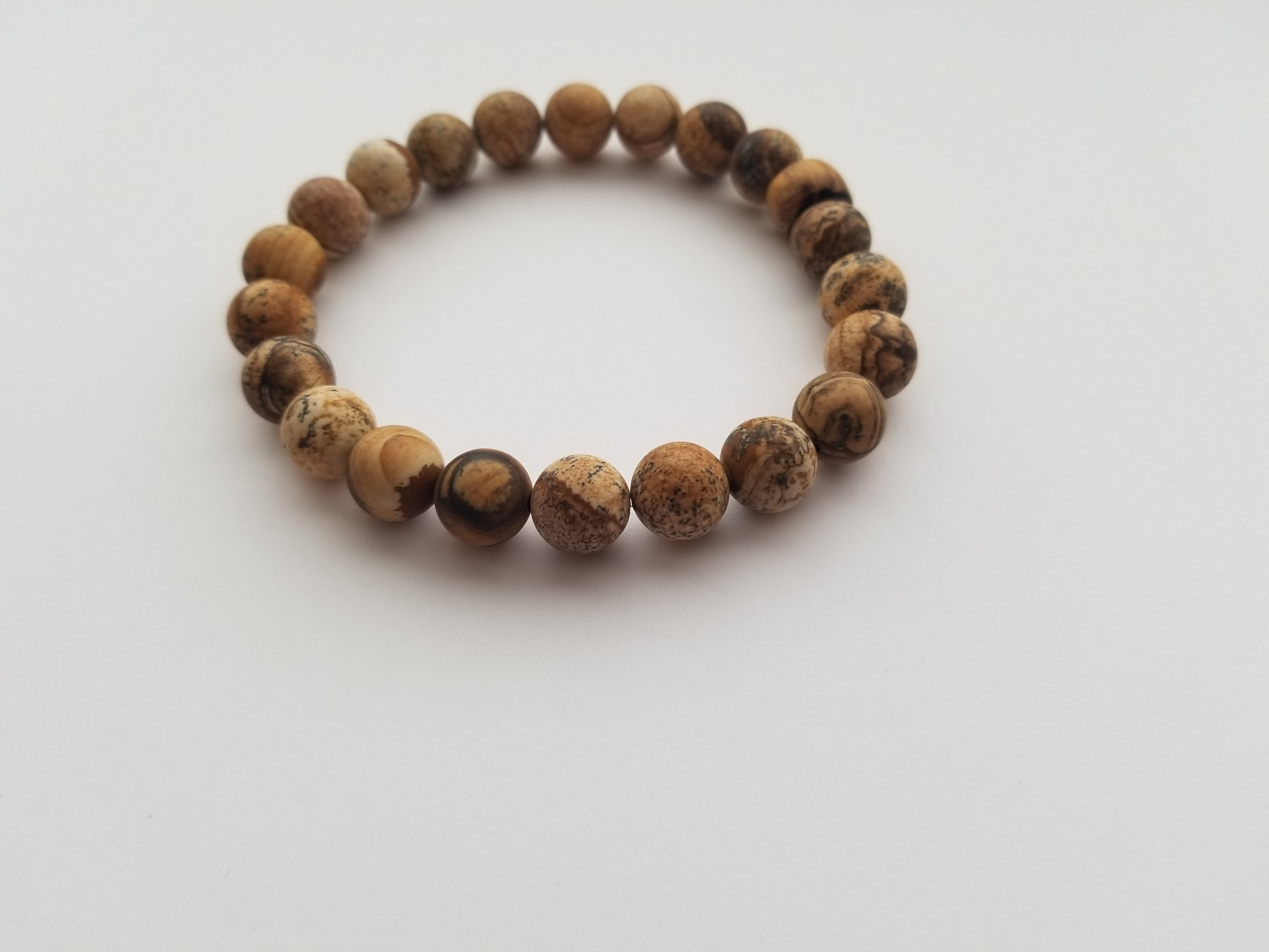 10mm Picture Jasper and Wood Bead Bracelet