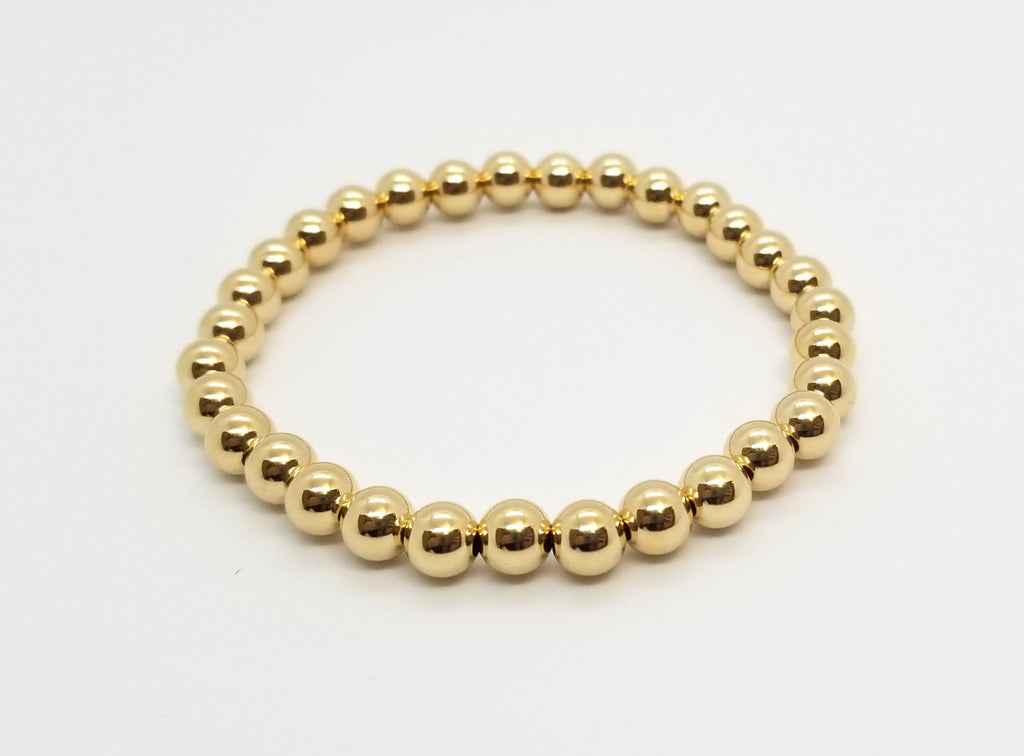 6mm Gold Bead Bracelet
