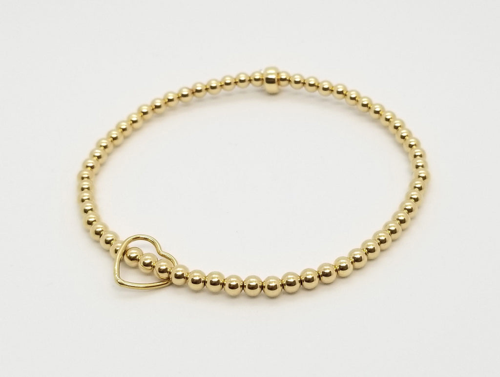 Gold with Floating Gold Heart Bracelet
