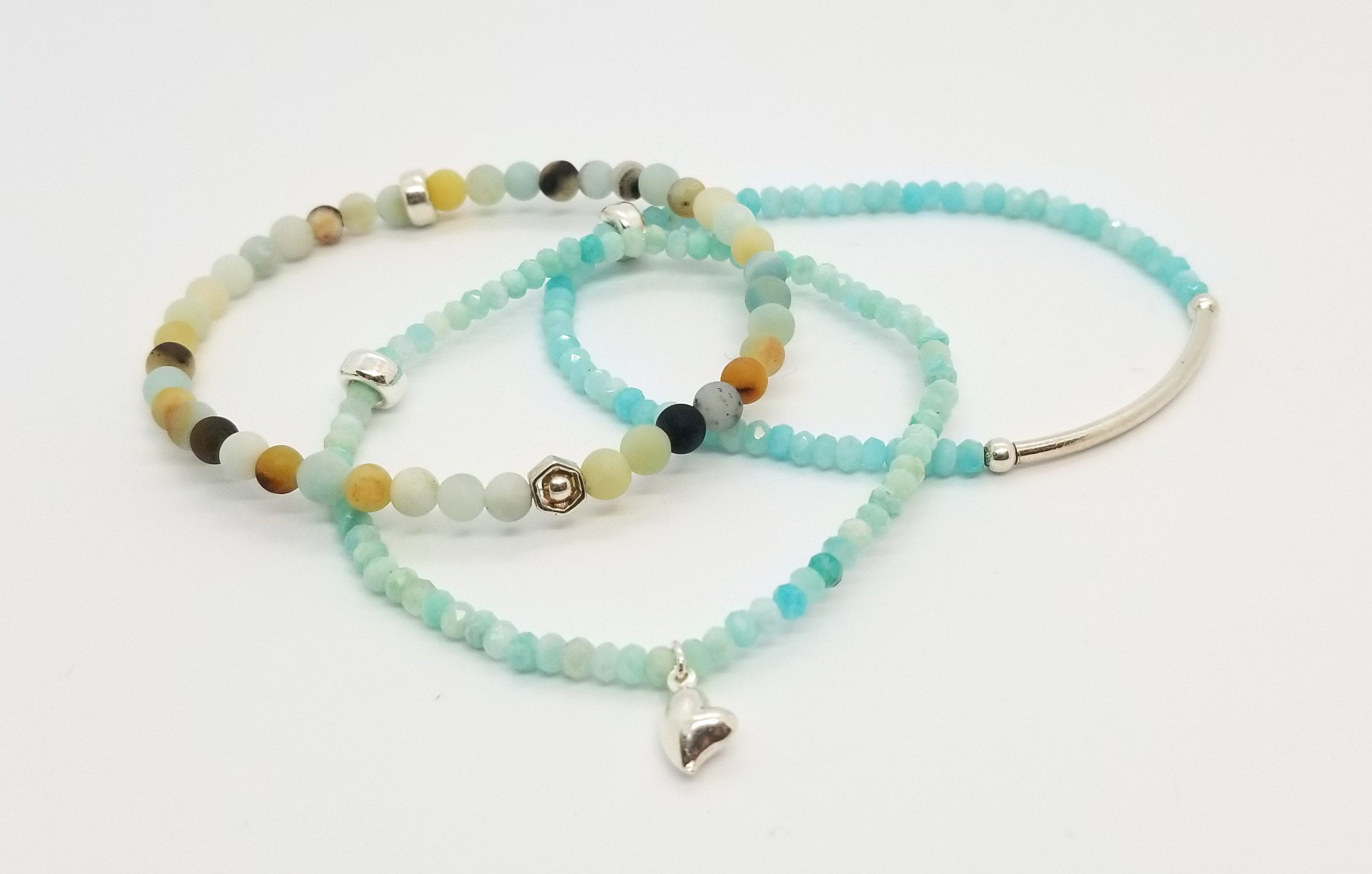 SOLD OUT - Amazonite Silver Bracelet 3 Stack SOLD OUT