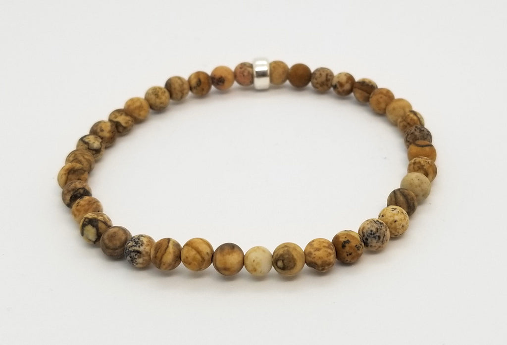 4mm Picture Jasper Sterling Silver