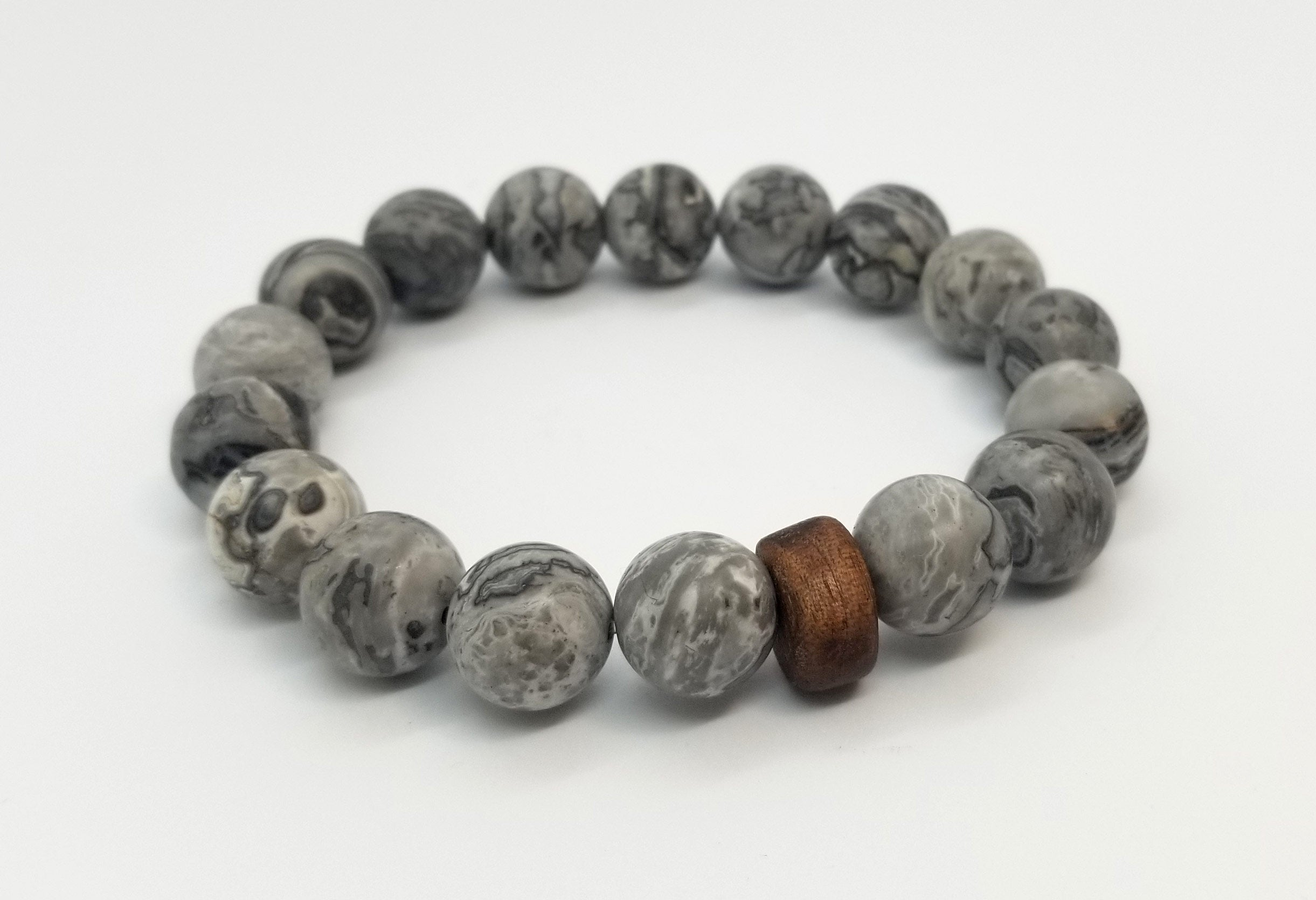 Grey Picture Jasper with Walnut Wood Bead Bracelet