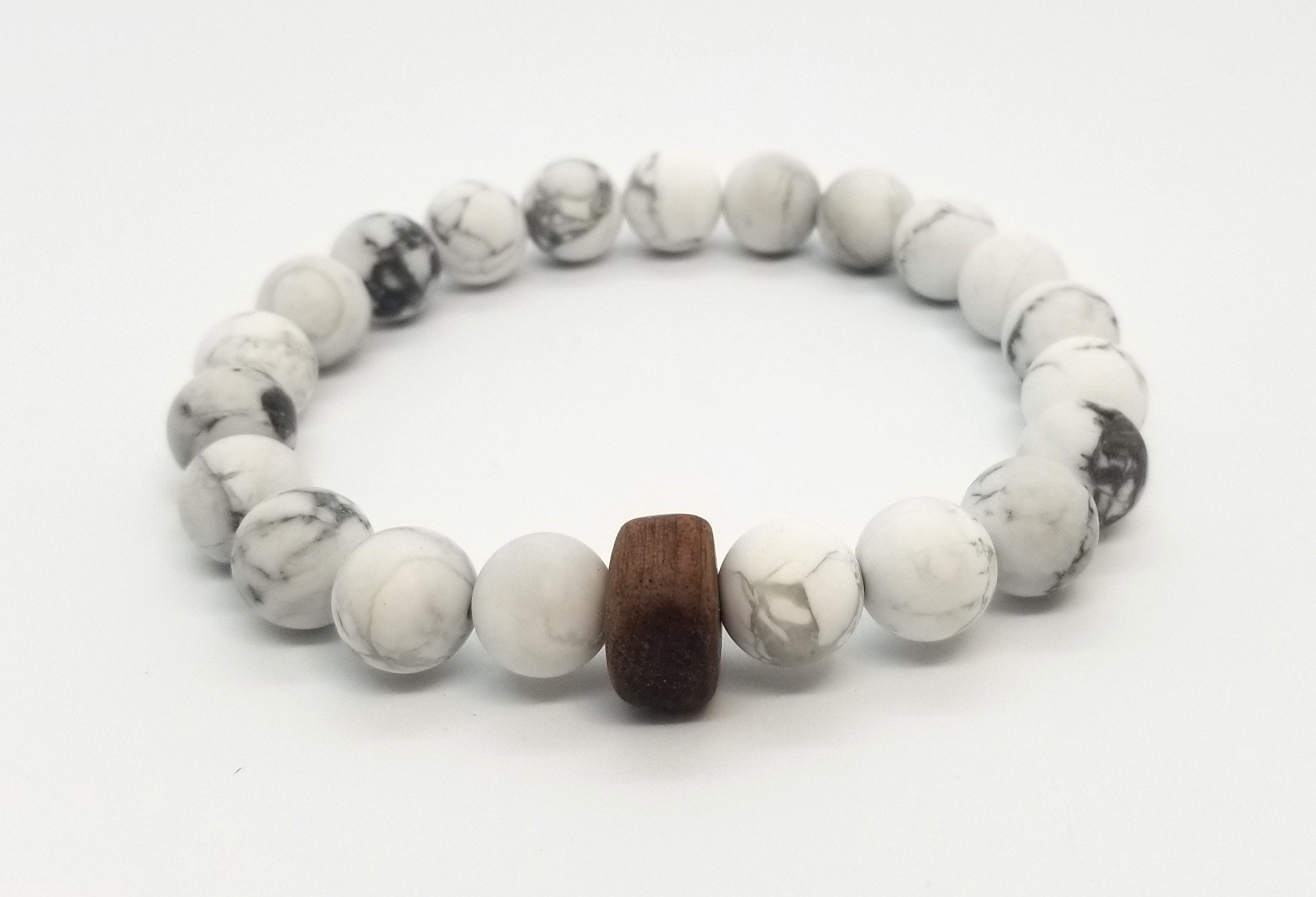 10mm Howlite Walnut Wood Bead Bracelet