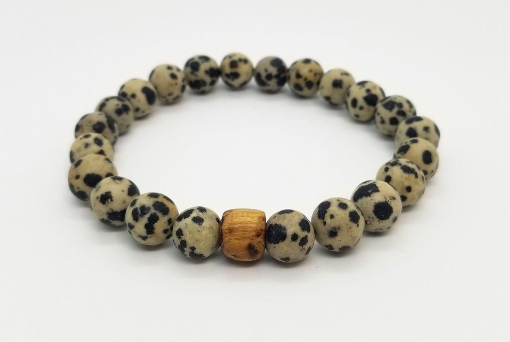 10mm Dalmatian Jasper and Wood Bead Bracelet