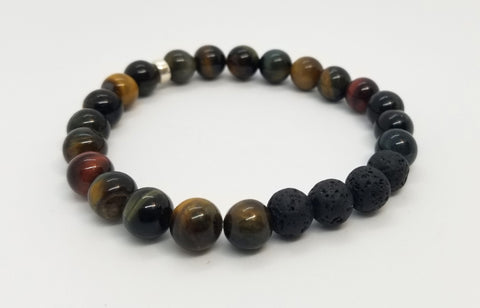8mm Blue Tiger's Eye, Lava and Silver Bracelet