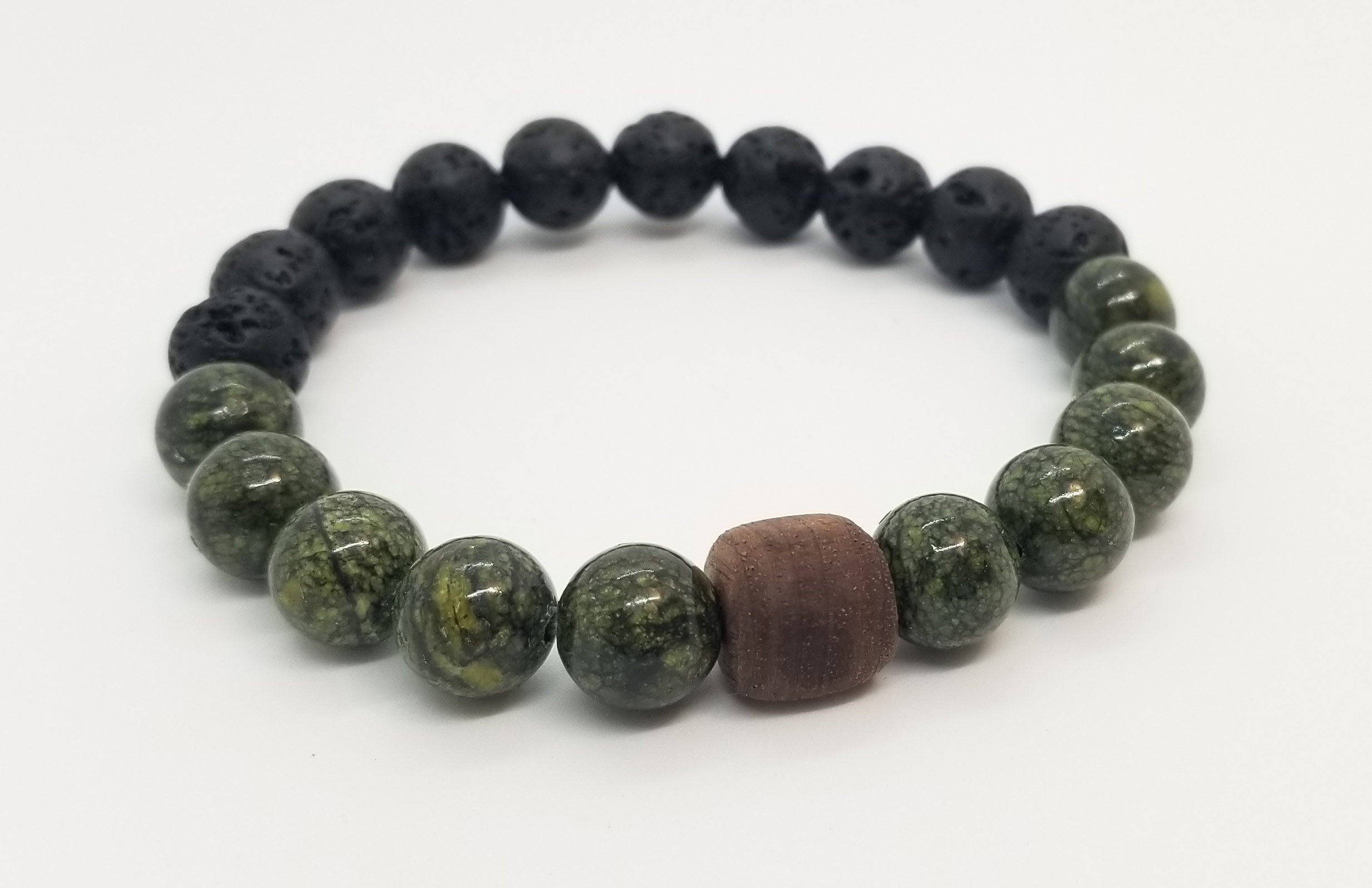 10mm Russian Jade and Lava with Wood Bead Bracelet