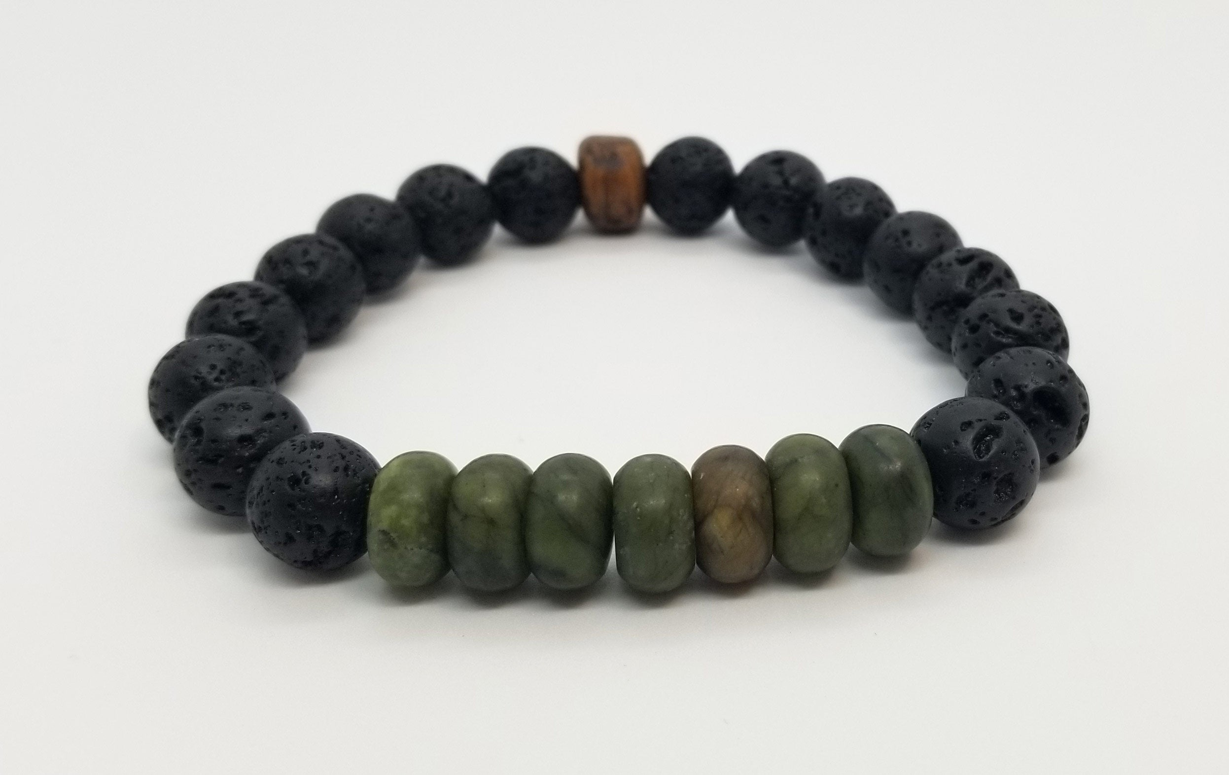 10mm Taiwanese Jade and Lava with Wood Bead Bracelet
