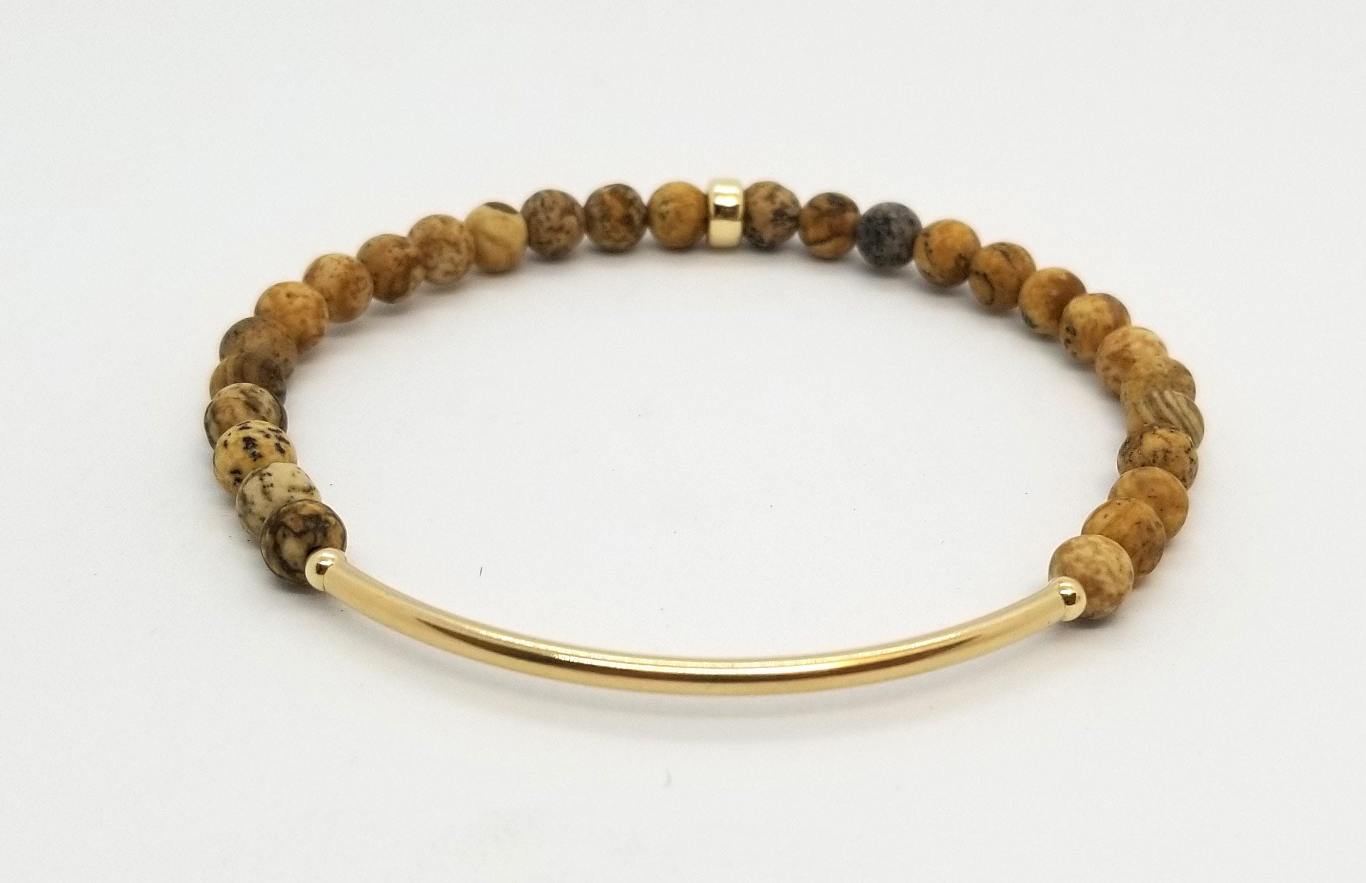 Picture Jasper Gold Bar Bracelet