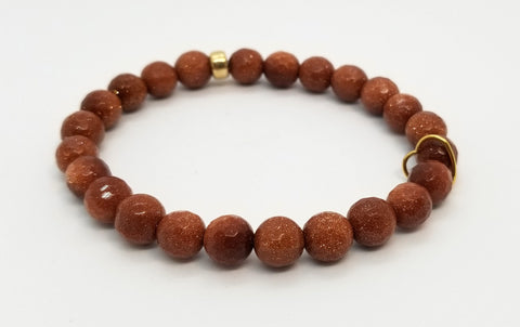 8mm Goldstone with Floating Gold Heart Bracelet